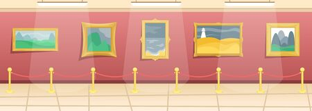 Fine arts museum. Hall with paintings in gilded baguettes, fenced from visitors. Classical art. Flat vector illustration.