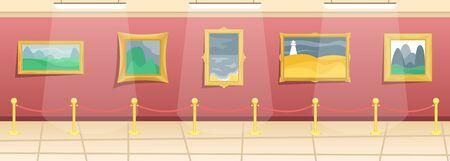 Museo de Bellas Artes. Salón con pinturas en baguettes doradas, cercado de visitantes. Arte clasico. Ilustración de vector plano. Ilustración de vector
