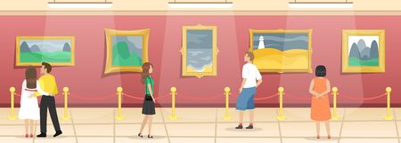 Fine arts museum with visitors. Hall with paintings in gilded baguettes, fenced from visitors. Classical art. Flat vector illustration. Foto de archivo - 128943113