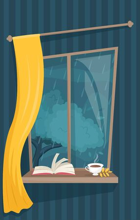 Atmospheric autumn window with a Cup of hot tea and a book. Cozy autumn evenings. Rainy autumn. Flat vector illustration.