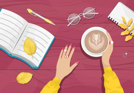 Autumn flat lay background with workplace in a cafe. Women's hands holding a Cup of cappuccino. Burgundy wooden background with yellow autumn leaves. Book, notebook, eye glasses. Flat vector illustration.