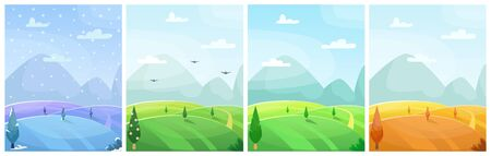 Set of seasonal flat vector cartoon landscape. Fields with trees and mountains in the background. Sky with clouds. Four seasons Illustration