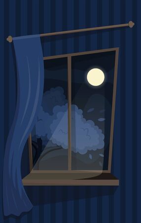 Atmospheric window with a curtain. Cozy view on the moon and tree. Flat vector interior.