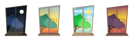 Set of four atmospheric windows with curtains. Cozy view on the time of day and tree. Flat vector interior. Illustration