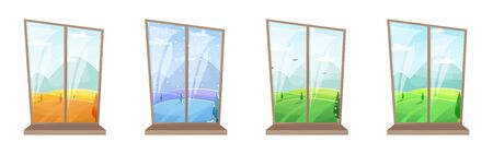 Set of 4 windows with different seasons. Cozy interiors. Summer, autumn, winter, spring. Flat vector illustration.