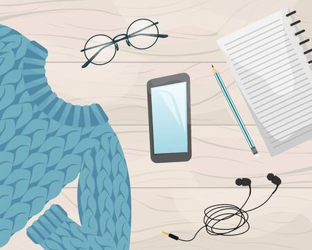 Flat lay with the notebook, smartphone, wool sweater, pencil and earphones. Flat vector illustration.