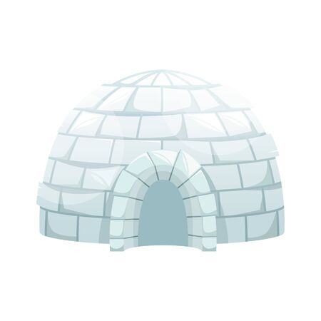 Ice igloo. Winter Northern landscape. The life of the Inuit. Isolated flat vector illustration