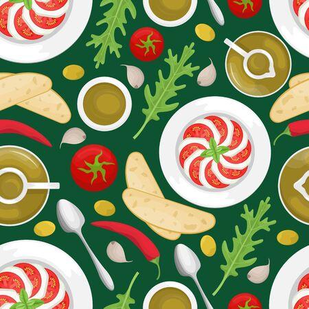 Seamless pattern with Italian cuisine. Tomato, olive oil, arugula, Caprese, mozzarella, ciabatta, chili. Flat lay. Flat vector background Stock Illustratie