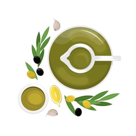 Olive oil in a decanter, lemon slices, olives, olive branch. Flat lay. Flat vector illustration.