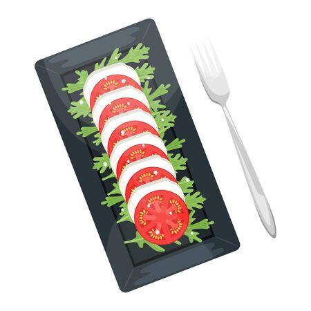 An Italian dish of tomatoes and mozzarella. Caprese with arugula leaves. Flat lay. Flat vector illustration. Stock Illustratie