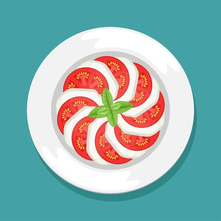 An Italian dish of tomatoes and mozzarella. Caprese with Basil leaves. Flat lay. Flat vector illustration.