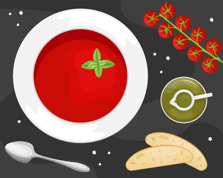 Gazpacho soup in a plate with slices of ciabatta, olive oil and cherry tomatoes. Flat lay. Flat vector illustration.