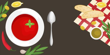 Gazpacho soup in a plate with slices of ciabatta, chili, olive oil and olives, cherry tomatoes. Flat lay. Flat vector illustration.