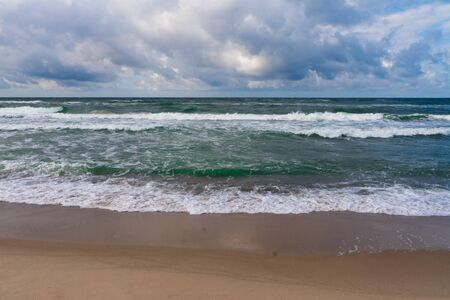 Seascape in big waves. Dramatic Baltic sea in windy weather. Curonian spit. Stock fotó