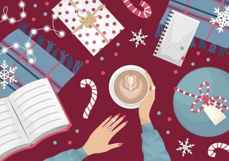 Christmas flat lay with a wool wardrobe, a book, a garland and Christmas gifts. Girls hands with a cup of cappuccino. Christmas flat vector illustration.