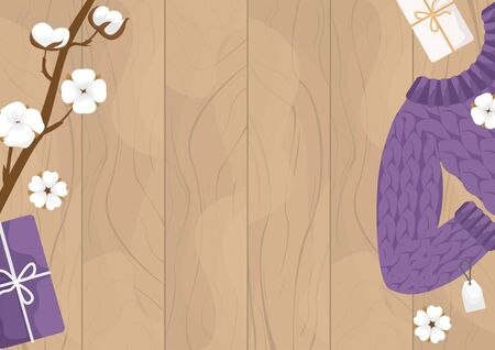 Flat lay wool sweater, branch and cotton flowers on wooden background. Winter flat vector illustration.