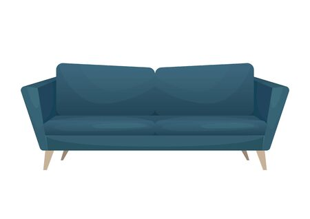 Modern stylish blue sofa with wooden legs. Isolated vector illustration. Ilustração