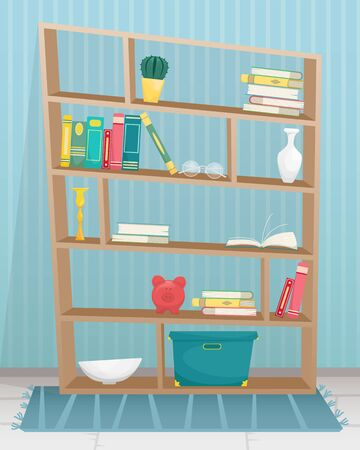 Bookcase with books, candles, vases and other accessories. Flat vector illustration. Ilustração