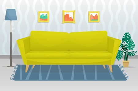 The flat trendy interior features a wooden-legged sofa and a pictures on the wall. Flat vector illustration Ilustração