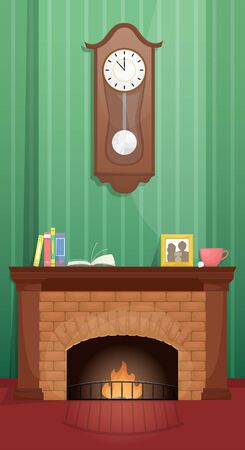 Living room with fireplace and antique clock over the fireplace. Flat vector illustration.