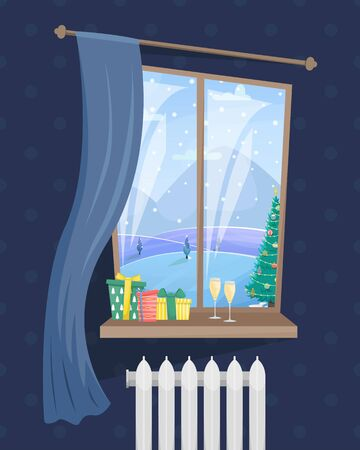 Living room with window and Christmas gifts. View from the window with a winter landscape and a Christmas tree. Christmas flat vector illustration. Ilustração