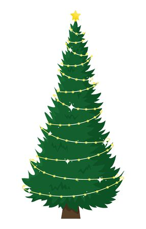 Tall beautiful Christmas tree with garland. Christmas flat vector illustration.
