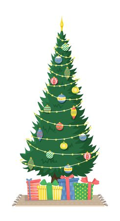 Tall beautiful Christmas tree with garland and Christmas tree toys and gifts. Christmas flat vector illustration. Ilustração