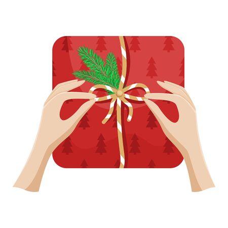 Girl packs a Christmas gift and ties a bow. Flat vector Christmas illustration. Imagens - 131119470