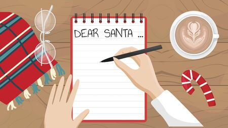 The girl writes a letter with wishes to Santa Claus. Flat vector Christmas illustration.