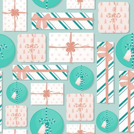 Seamless pattern with gifts. Festive flat lay vector background. Ilustração
