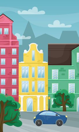 European city street with green trees and blue car on the road. Flat vector illustration.