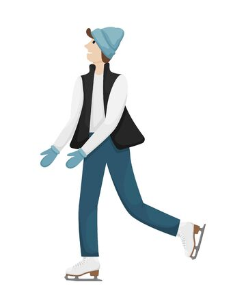 A man in winter clothes and hat skating on the ice. Winter entertainment. Flat vector illustration. Illustration