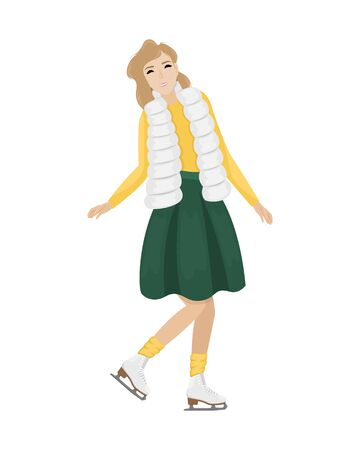 Girl in winter clothes and hat skating on the ice. Winter entertainment. Flat vector illustration.
