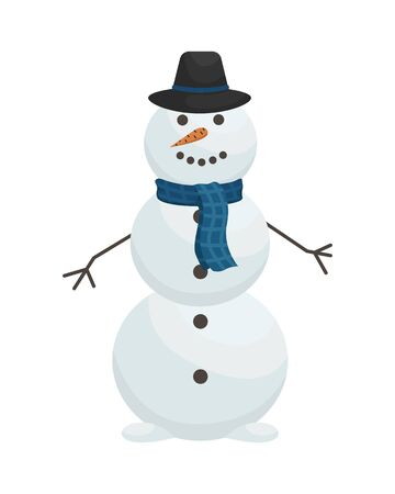 Cute snowman in hat and scarf. Winter entertainment. Flat vector illustration.