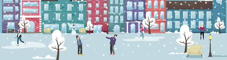 Winter cityscape with the European houses and the snow. People play in the snow and ice skating. Flat vector illustration.
