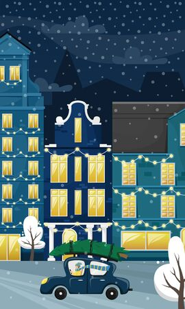 Christmas cityscape with the European houses and the snow. The car takes the Christmas tree home. Flat vector illustration.