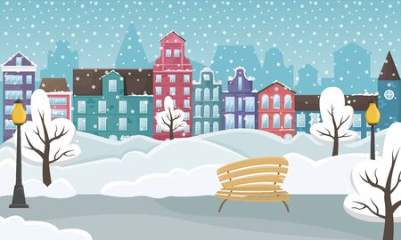 Winter cityscape with the European houses and the snow. Flat vector illustration.