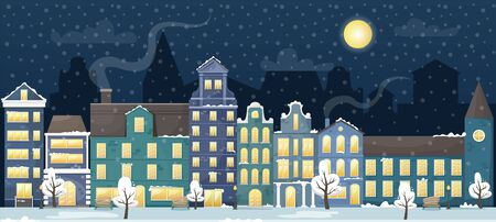 Winter cityscape with the European houses and the snow in the night. Flat vector illustration.