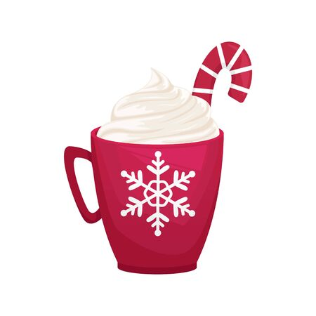 Christmas red mug with snowflake. Cocoa with whipped cream and Lollipop. Flat vector illustration.
