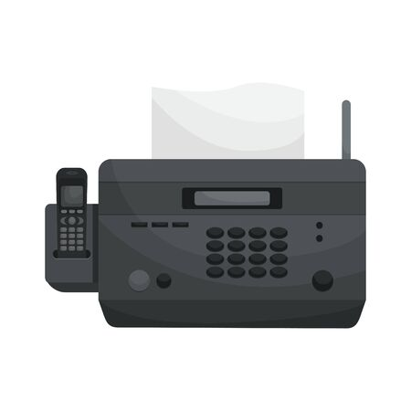 Isolated vector Fax. Office devices, printers, phones. Ilustração