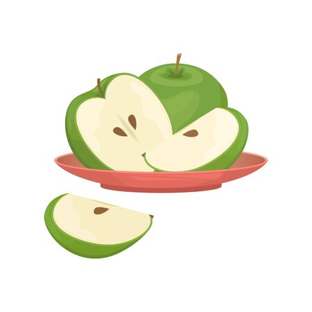 Green apples sliced and whole on a red plate. Isolated vector illustration.