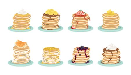 Set of 8 types of pancakes. A stack of fried pancakes on the plate. Delicious breakfast. Cartoon vector illustration.