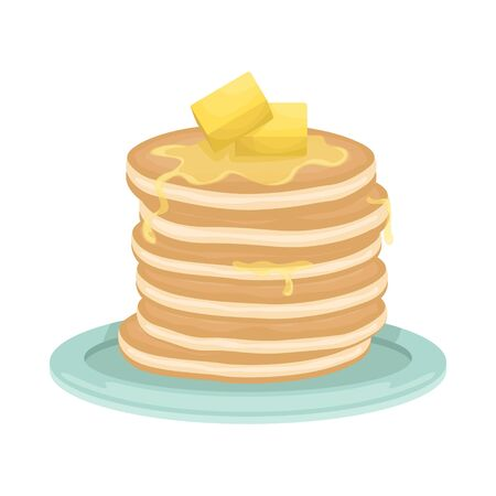 A stack of fried pancakes with slices of butter. Delicious breakfast. Cartoon vector illustration.