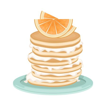 A stack of fried pancakes with whipped cream and orange slices. Delicious breakfast. Cartoon vector illustration.