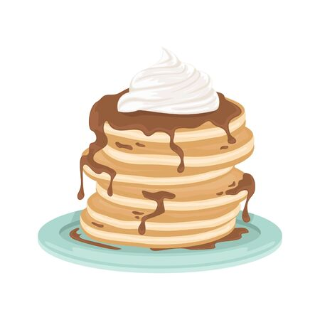 A stack of fried pancakes with whipped cream and chocolate sauce. Delicious breakfast. Cartoon vector illustration.