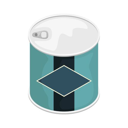 A tin can with a label. 3D vector illustration.