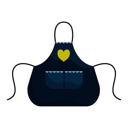 Kitchen Navy blue apron with patch pocket. Isolated flat vector illustration.