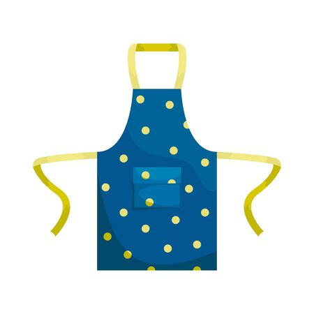 Blue kitchen apron with polka dots. Isolated flat vector illustration.
