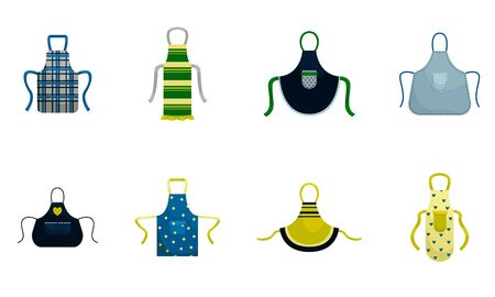 Set of 8 kitchen aprons. Isolated flat vector illustration. Imagens - 133336702