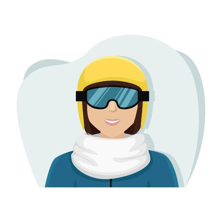 Girl snowboarder in a yellow ski helmet and glasses. Isolated flat vector illustration.